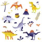 Nette Dinosaurier lokalisiert auf weißem Hintergrund Dinosaurierabdruck, Vulkan, Palme, Steine Baby Dino Collection vektor abbildung