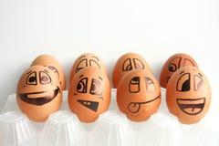 Nette Eier in zwei Reihen Stockfotos