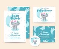 Nette Elefant-Duschthema-Babyparty-Einladungs-Karten-Illustrations-Schablone Lizenzfreie Stockfotografie