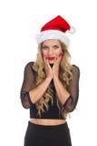 Nette elegante Frau in Santa Hat Stockfoto