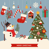 Nette Elemente der frohen Weihnachten Stockbild