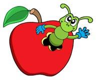 Nette Endlosschraube im Apfel stock abbildung