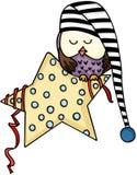 Nette Eule, die auf Stern schläft vektor abbildung