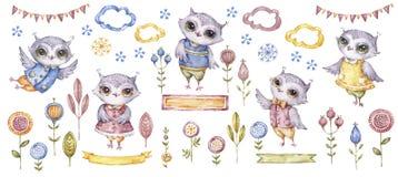 Nette Eulen des Watercolour Nette Tiervögel des Aquarells und ethnische Blumen Zeichentrickfilm-Figur-Clipart Entwurf für irgen stockbilder