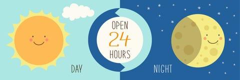 Nette Fahne für Tag und Nacht Shop mit Hand gezeichneten lächelnden Zeichentrickfilm-Figuren von Sun und von Mond Lizenzfreie Stockfotos
