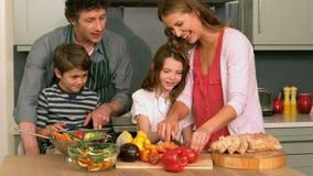 Nette Familie, die das Mittagessen vorbereitet stock footage