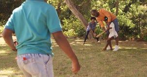 Nette Familie spielt Baseball in einem Park stock video footage