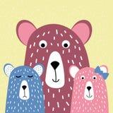 Nette Familie von Bären, Bär und Bärenjunge, von Hand gezeichnet, Karikaturart-Vektorillustration für Entwurf von T-Shirts, Grußk vektor abbildung