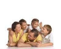 Nette Familie von fünf stockbild