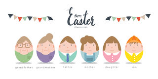 Nette Familiencharaktere des flachen Vektors Ostereier Stockfotos