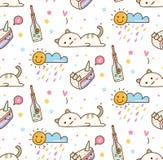 Nette faule Katze mit nahtlosem Hintergrund des Kuchens stock abbildung