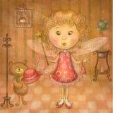 Nette Fee Kinderillustration Kindischer Hintergrund der Karikatur in den Weinlesefarben Stockbilder