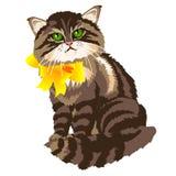 Nette flaumige Katze der getigerten Katze mit dem gelben Bandbogen lokalisiert auf einem weißen Hintergrund Vektorkarikatur-Nahau Stockbilder