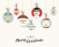 Nette Flitter-Grußkarte der frohen Weihnachten Retro- vektor abbildung