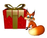 Nette Fox-Zeichentrickfilm-Figur mit Geschenkbox Stockbilder