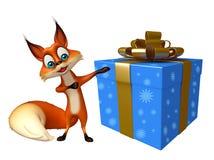 Nette Fox-Zeichentrickfilm-Figur mit Geschenkbox Lizenzfreies Stockbild