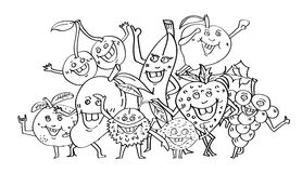 Nette Früchte übergeben gezogene, Zeichentrickfilm-Figur-Gekritzelart, Malbuchseite und Parteikonzept, Design für Erwachsene und  vektor abbildung