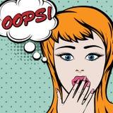 Nette Frau der Pop-Art mit OOPS Zeichen Stockbilder