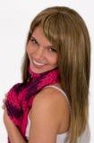 Nette Frau im hellen Schal Stockfoto