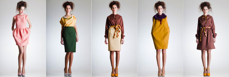 Nette Frau gekleidet in der eleganten Retro Kleidung Stockbilder