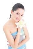 Nette Frau mit Blume Lizenzfreies Stockbild