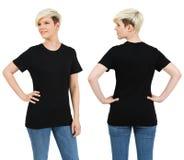 Nette Frau mit leerem schwarzem Hemd Lizenzfreie Stockfotografie