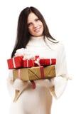 Nette Frauen mit einem Geschenk Lizenzfreie Stockbilder