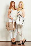 Nette Freundinnen mit Handtaschen lizenzfreie stockfotos