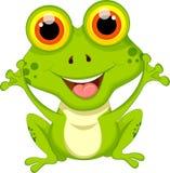 Nette Froschkarikatur, die für Sie Design sitzt Lizenzfreie Stockfotos