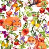 Nette Fuchstiere, Sommerwiesenblumen und Schmetterlinge Ditsy, das Blumenmuster wiederholt watercolor vektor abbildung