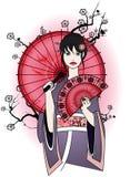Nette Geisha im traditionellen Kleid Lizenzfreie Stockfotos