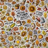 Nette Gekritzel der Karikatur übergeben gezogene Herbstillustration mit vielen Gegenständen lizenzfreie abbildung