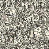 Nette Gekritzel der Karikatur übergeben gezogener Idee nahtloses Muster Stockfotografie