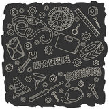 Nette Gekritzel der Karikatur übergeben gezogene Selbstservice-Illustration Stockbild