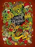 Nette Gekritzel der Karikatur Illustration froher Weihnachten Stockbilder