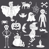 Nette Gekritzel-Halloween-Geist-Linie Art Vector Illustration Set Stockfotografie