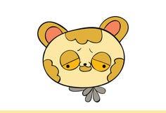 Nette gelbe Cat Emoji Upset Lizenzfreie Stockbilder