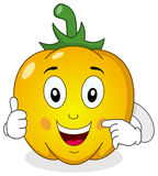 Nette gelbe Pfeffer-Zeichentrickfilm-Figur Stockfoto