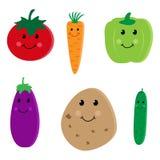 Nette Gemüsecharaktere der Karikatur Stockfotos