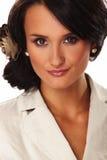 Nette Geschäftsfrau auf weißem Hintergrund Stockfoto