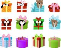 Nette Geschenkboxen Clipart mit Pinguinen und Bären nach innen ENV-Vektorgrafik groß für Planeraufkleber oder das Scrapbooking Stockfotos