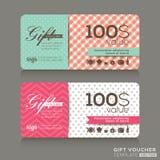 Nette Geschenkgutscheinzertifikatkupon-Designschablone Stockbilder