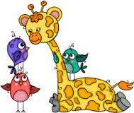 Nette Giraffe mit drei Vögeln stock abbildung