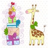 Nette Giraffe mit vielen Geschenken Lizenzfreies Stockbild