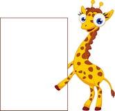 Nette Giraffenkarikatur mit leerem Zeichen vektor abbildung