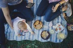 Nette glückliche Familie auf Picknick stockbilder