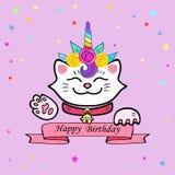 Nette glückliche Glückwunschkarte mit Katze und Einhorntiara stock abbildung