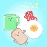 Nette glückliche Illustration des Vektorfrühstücks Stockbilder