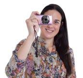 Nette glückliche junge Frauen macht Fotos Stockbilder