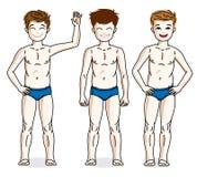 Nette glückliche Jungen des jungen jugendlich, die in der blauen Unterwäsche aufwerfen Vektortauchen Lizenzfreies Stockfoto